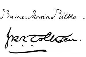 Famous Authors' Signatures: Rainer Maria Rilke and J. R. R. Tolkien