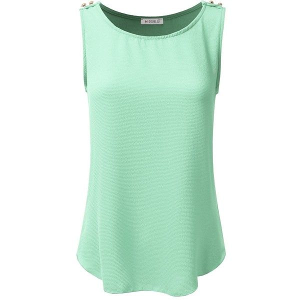 Doublju Loose Fit Tops And Blouses Sleeveless Blouses For Women With... ($13) ❤ liked on Polyvore featuring tops, blouses, women's plus size shirts, green button down shirt, sleeveless blouse, plus size shirts and green blouse