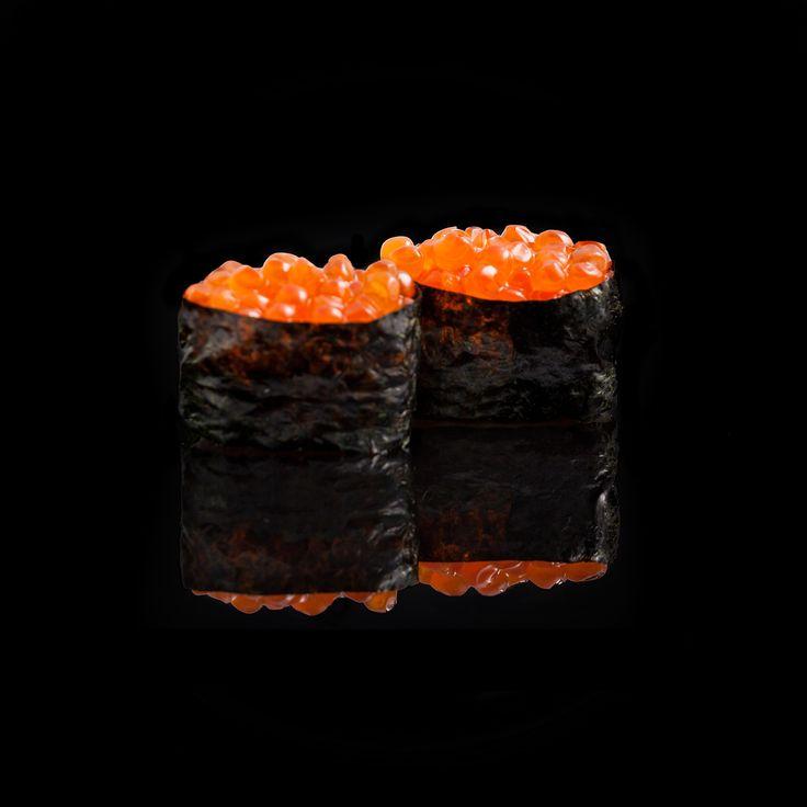 Ikura- Gunkan / rice wrapped with nori & on top of salmon eggs