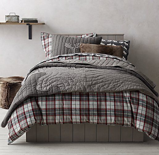 Lodge Plaid Amp Moose Flannel Bedding Collection This
