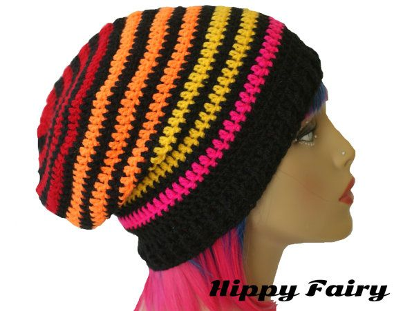 Neon hatNeon Beanie slouch beanie Festival clothing by HippyFairy, £12.00