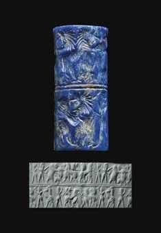 A SUMERIAN LAPIS LAZULI CYLINDER SEAL -   EARLY DYNASTIC III, CIRCA 2500-2400 B.C. - ¾ in. (2 cm.) high