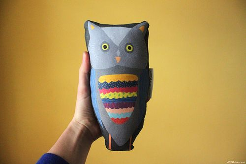 Super rad owl friend to have in your home!Owl measures approx 21cm x 12cm. Front is a heavyweight twill digitally printed in lovely bright colours. Back is a grey cotton. Designed by Nicola Rowlands in Manchester UK. #owlplushie #owltoy #nicolarowlands