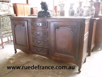 FRENCH ANTIQUE carved OAK French PROVINCIAL BUFFET - SIDEBOARD CABINET