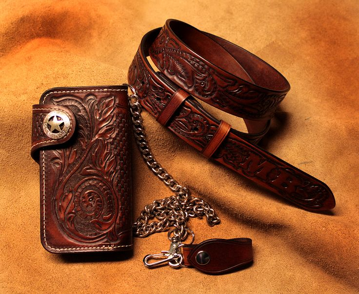 leather wallet with belt