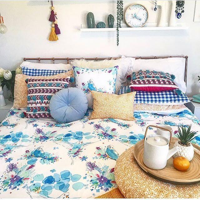 budgie quilt cover, watercolour quilt Australiana quilt
