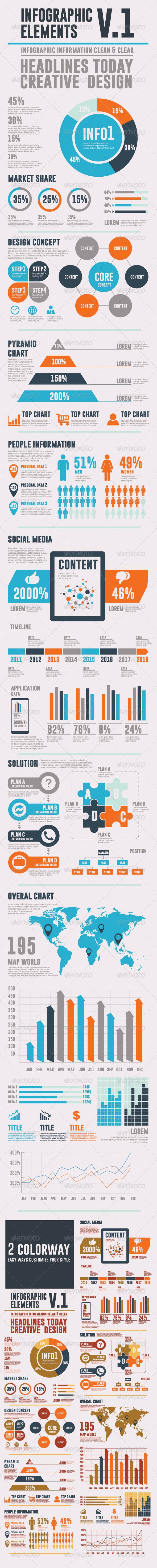 Infographic Elements V.1 business, chart, conceptual, corporate, creative, data, diagram, display, element, graph, icon, infographic, information, layout, line graph, market, modern, pie, presentation, process, project, retro, shape, social network, statistics, symbol, template, timeline, vector, world map, Infographic Elements V.1