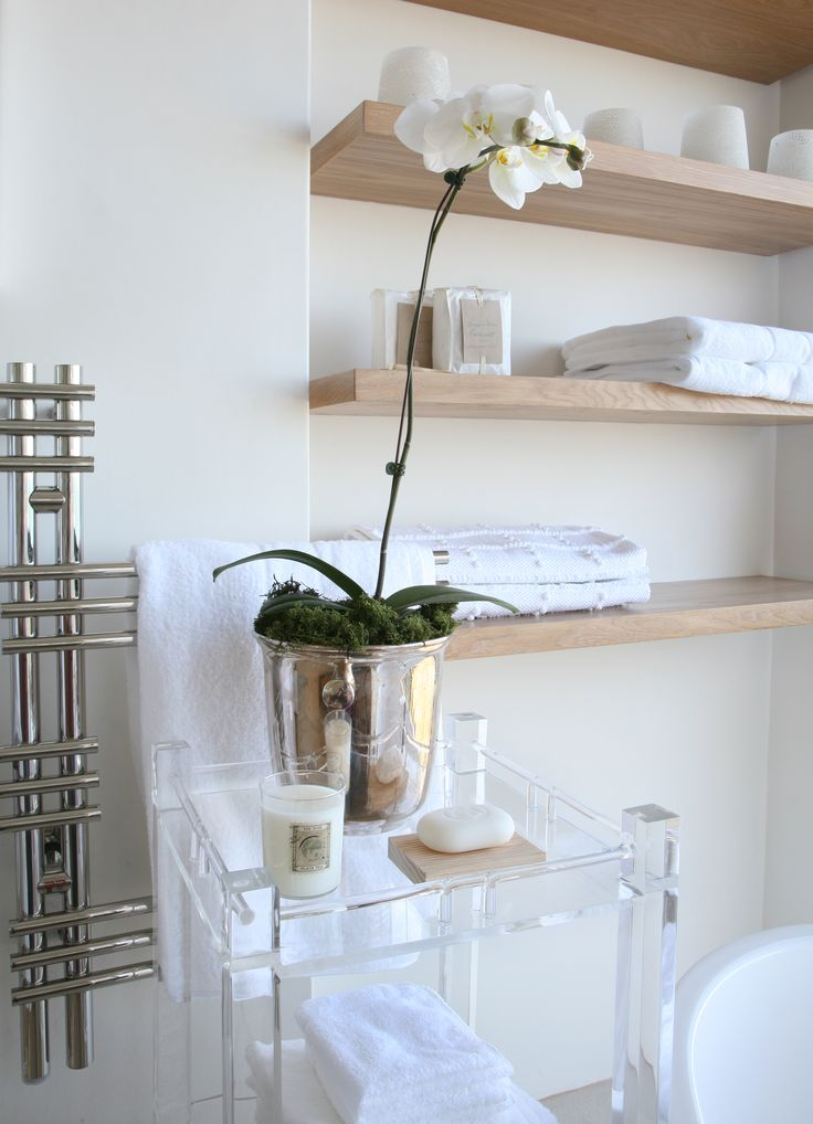 Michele Throssell Interiors > bathroom shelving > timber > white > natural