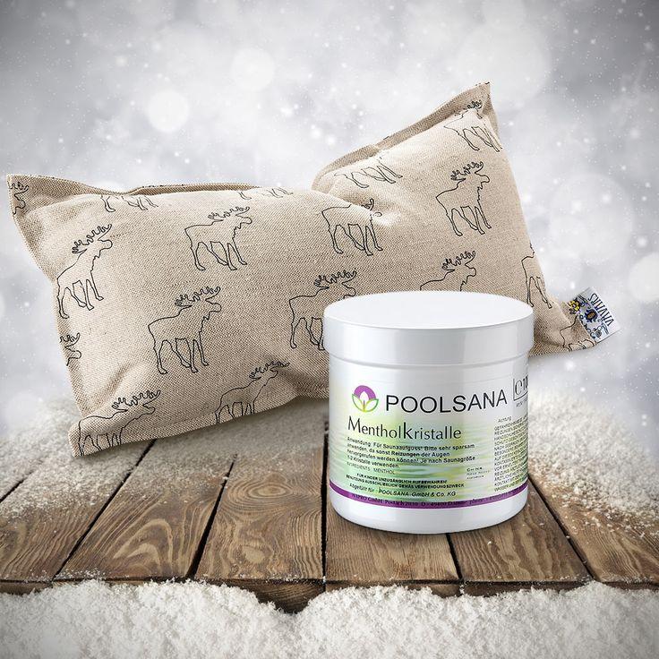 Sauna-Geschenkset zu Weihnachten: Kuschliges Kissen mit Elch-Muster und Mentholkristalle für den trockenen Aufguss. #weihnachten #sauna #wellness #geschenkidee #geschenktipp #weihnachtsgeschenk