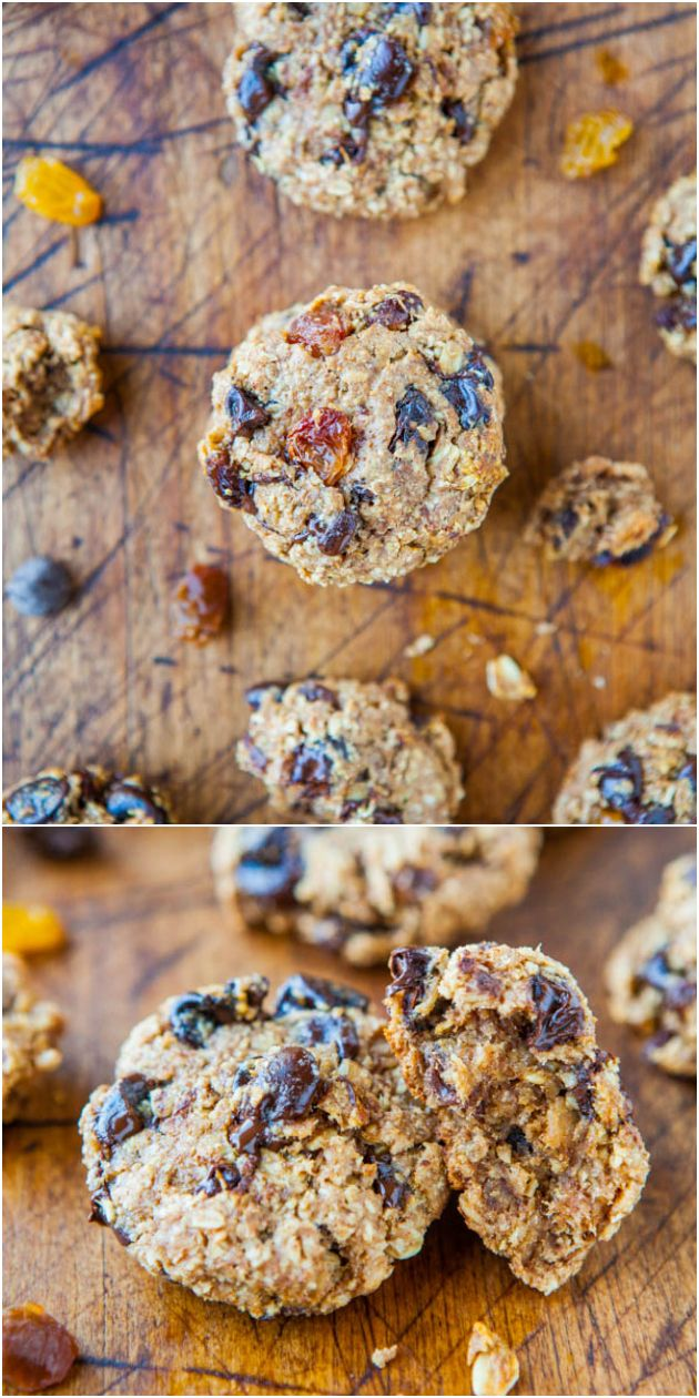 Healthy Oatmeal Chocolate Chip Miracle Cookies (vegan, GF) - NO Butter, Oil, Eggs, Flour or Sugar!  What a miracle! (finally a healthy cookie that tastes great!)