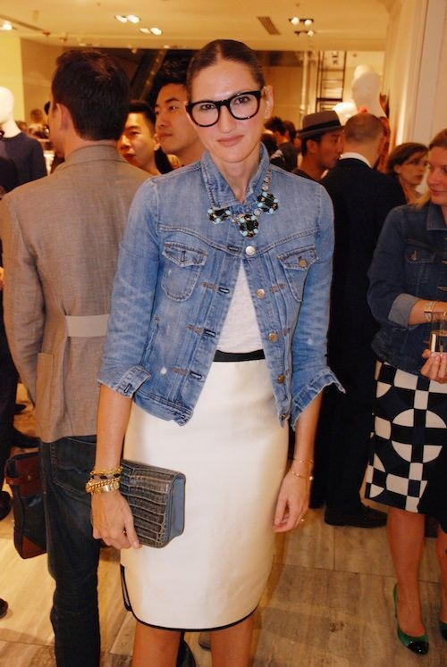 How to Layer for Spring 2017: Denim jacket outfit or jean jacket over a dress, statement necklace over denim jacket, j.crew style, Jenna Lyons  - cute spring outfit ideas - transitional spring outfits