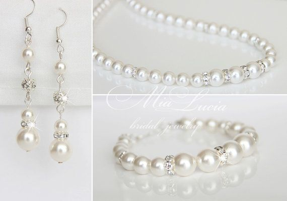 Bridal Jewelry Set Wedding Pearl Jewelry Set by MiaLuciaBridal