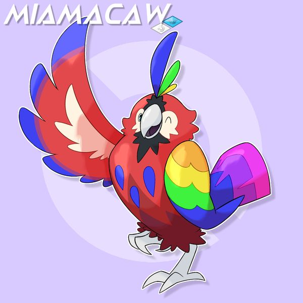 Type: Normal/Flying Egg group: Flying Ability: Big Pecks, Tangled Feet Dex:Miamacaw (Jubilant pokemon) are symbols of happiness in the region of Qamor. They love to spread joy and are famous across...