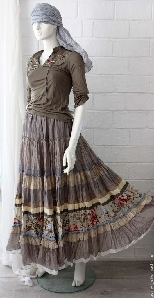 Юбки ручной работы. Ярмарка Мастеров - ручная работа. Купить 1 Романтичная кремово-бежевая юбка  длинная,многоярусная. Handmade.
