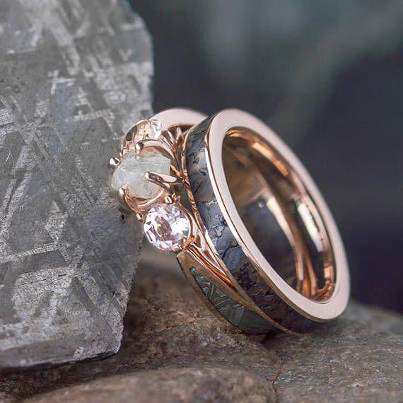 Rose Gold Ring Set Three Stone Meteorite Engagement Ring And