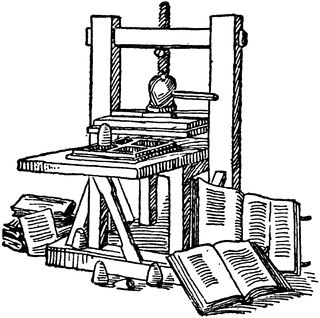 Gutenberg's Printing Press from 1445 used from etc.usf.edu. This is how printing was introduced to Europe. Mass production of materials gave move people the change to read and own books.