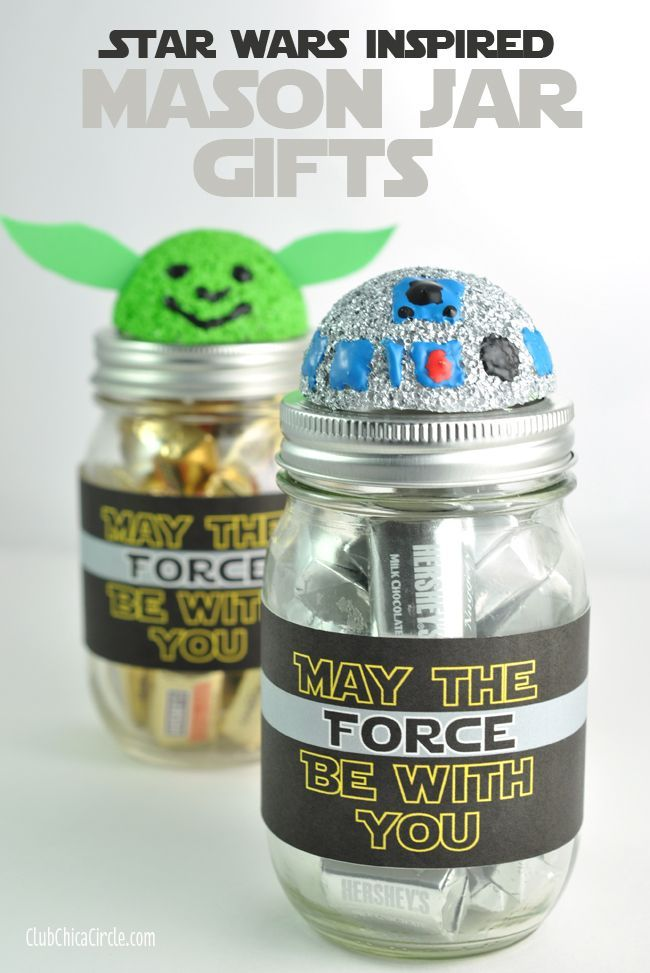 R2D2 and Yoda Mason Jar Craft Idea by Club Chica Circle.