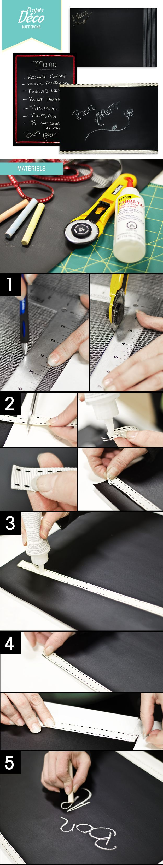 Des napperons personnalisés et simple à faire! http://clubtissus.com/articles-blog/articles-decoration/projet-napperons