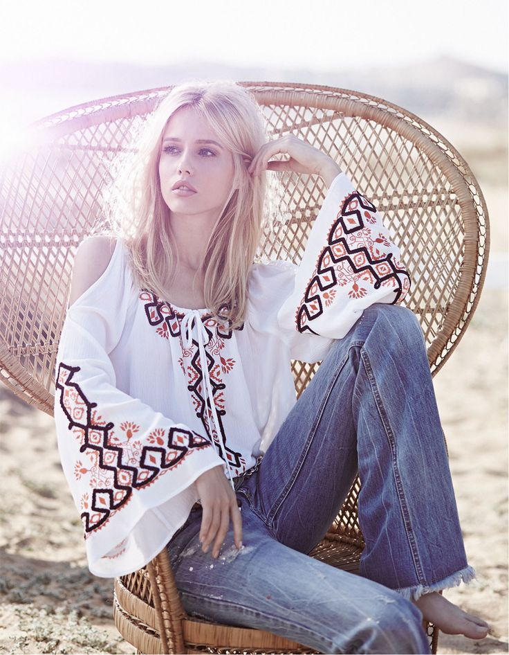Bohemian style ethnic embroidered blouse, jeans