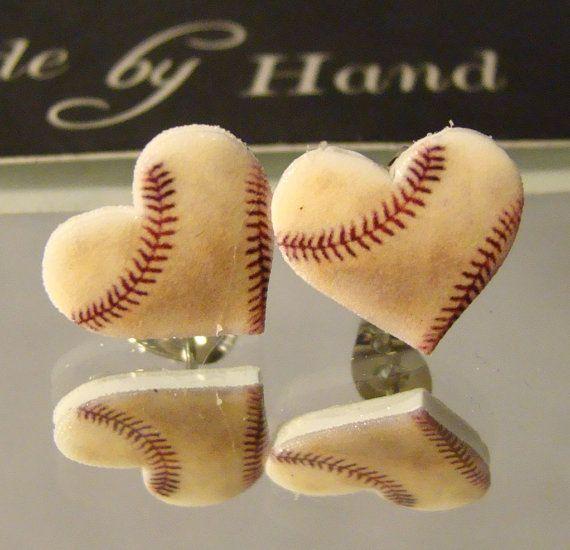 Baseball heart Stud Earrings by afanaffair on Etsy. , via Etsy.