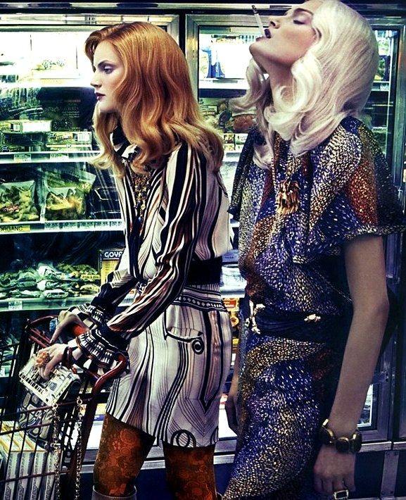 """Le goût des robes"" Guinevere Van Seenus & Lily Donaldson by Steven Meisel for Vogue Italia October 2007"