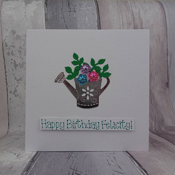Personalised watering can birthday card Handmade card with a