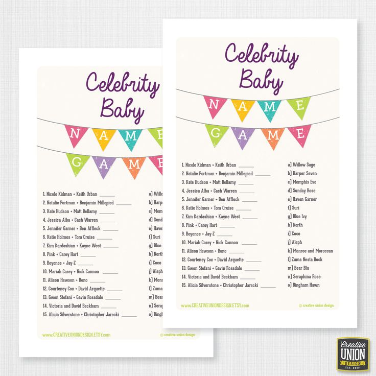 Baby Shower Celebrity Name Game  Baby by CreativeUnionDesign, $6.00