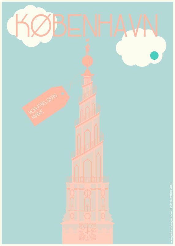 Vor Frelsers Kirke Turquoise Dot - Poster 50x70cm or 30x40cm