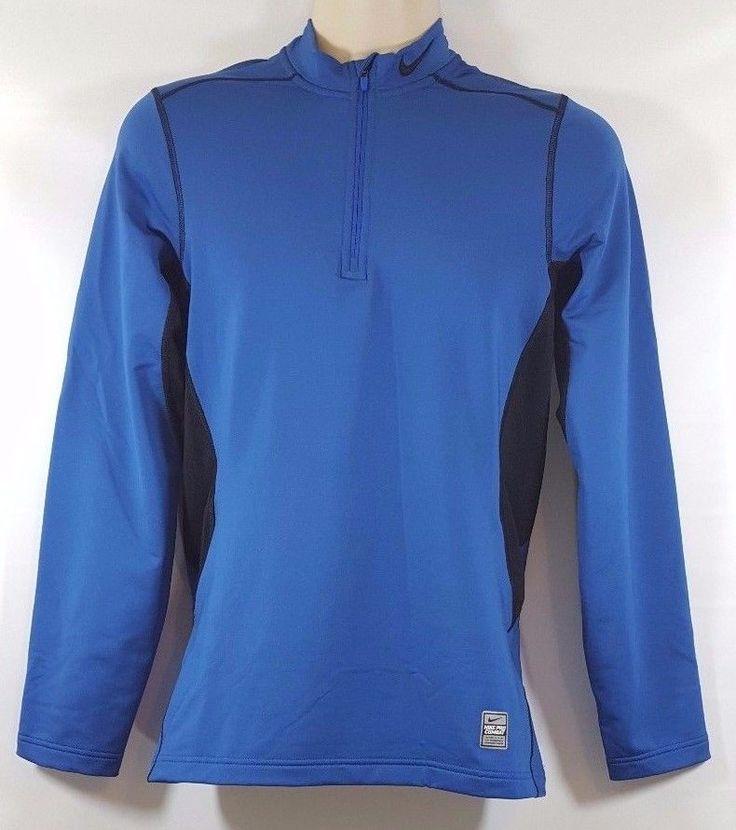 Nike Pro Combat Dri Fit Fitted Shirt Mens Size S Blue Long Sleeve Hyperwarm #Nike #ShirtsTops