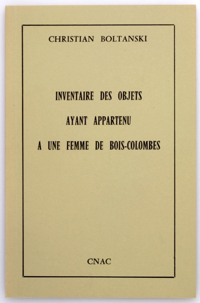 Christian Boltanski, published by Centre national d'art contemporain, 1974