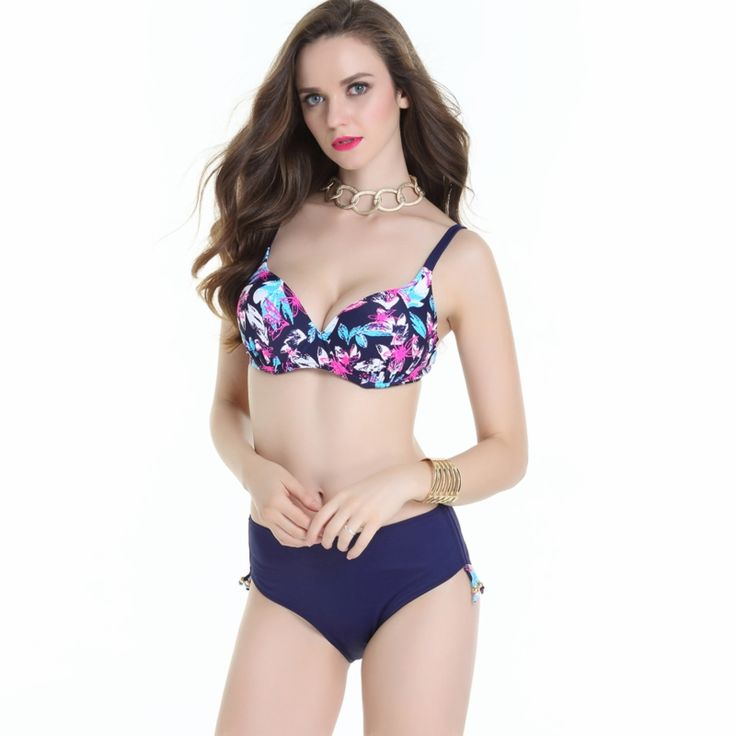 23.25$  Watch now - http://ali2jv.shopchina.info/go.php?t=32786601133 - 2017 New Big Cup Swimwear Large Size XXL,XXXL,4XL Women Bikini Beach Bathing Suit Floral Print Push Up Biquini Swimsuit plavky  #buychinaproducts