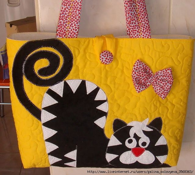 DISEÑOS DE GATO: The Bag, Cat, Baby Apliqu, De Aplique, Lovely Handbag, Ideas Pachwork, Applications, Ideas De, Bag On