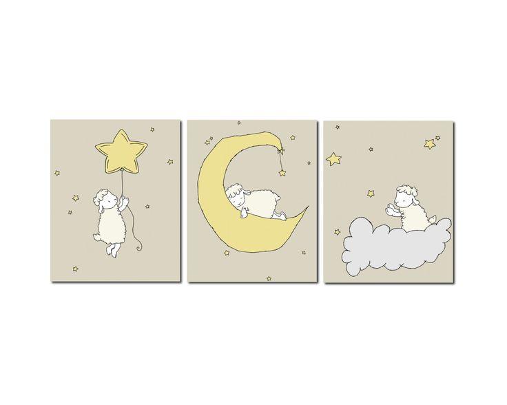 Lamb Nursery Art Prints, Neutral Nursery Decor, Lamb Moon and Stars Art, Set Of 3 Prints, Kids Wall Art by SweetMelodyDesigns on Etsy https://www.etsy.com/listing/176206847/lamb-nursery-art-prints-neutral-nursery