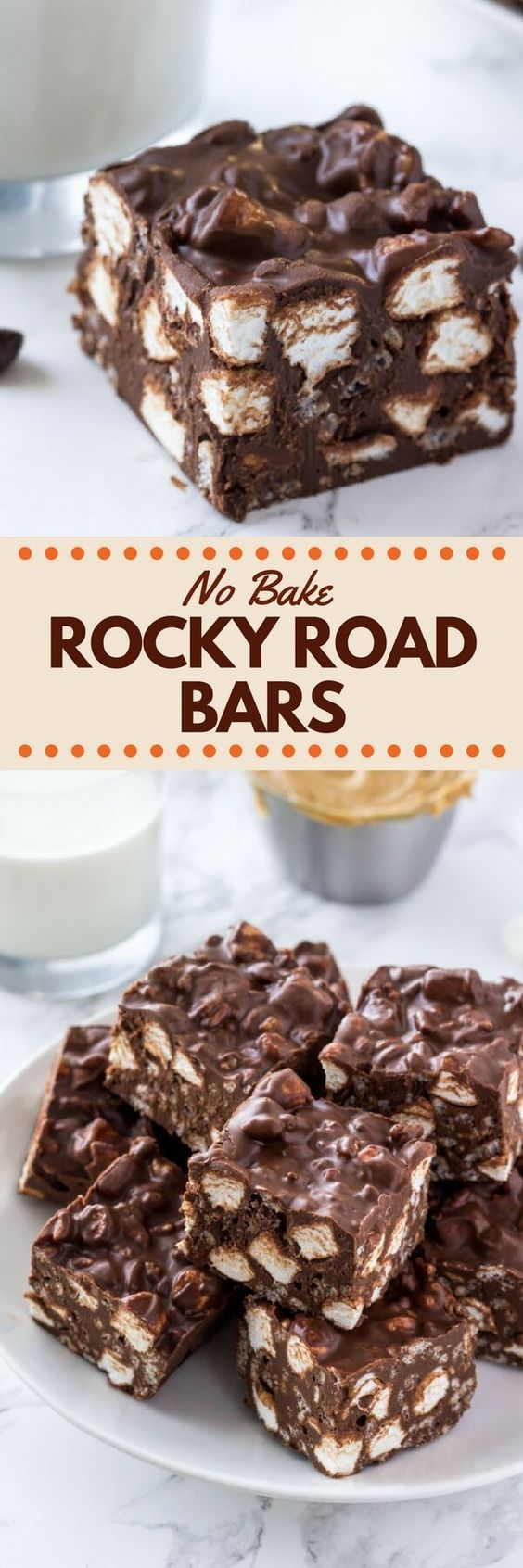 These No Bake Rocky Road Squares are the perfect easy recipe if you love peanut butter and chocolate. With only 5 ingredients - they're crispy, crunchy & gooey thanks to using Rice Krispie cereal and mini marshmallows. #nobake #rockyroadsquares #peanutbutterchocolate #rockyroad