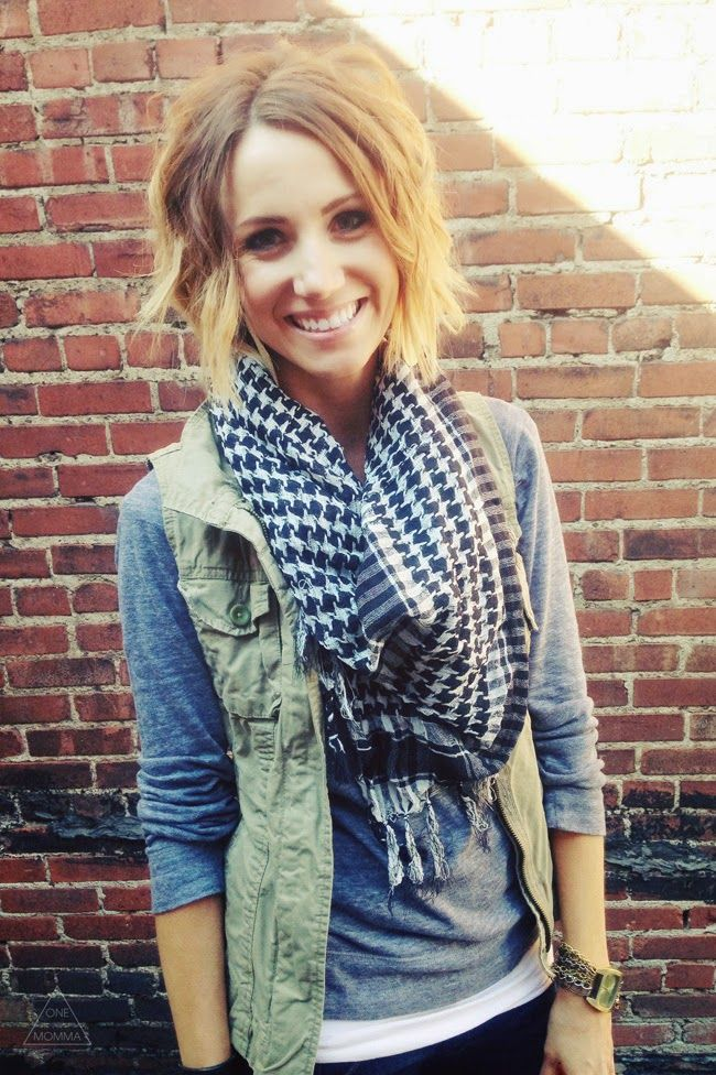 Love the Green vest, Grey long sleeve tee looks so comfortable. The scarf is cute maybe a little bulky for me.
