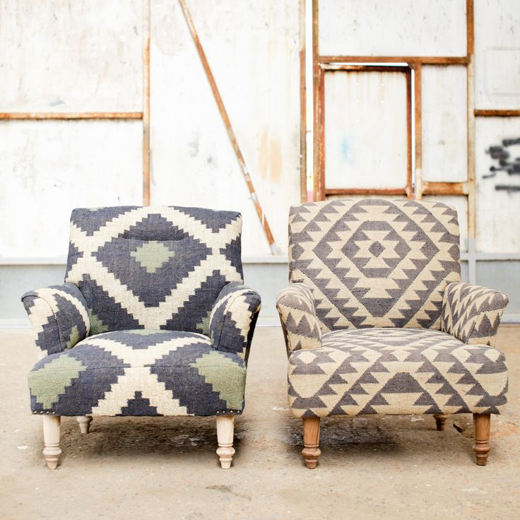 UPHOLSTERED COLLECTION  The stylish collection is upholstered in handwoven jute in this striking geometric Aztec design. The fabric is handwoven on traditional hand looms using methods that have remained unchanged for centuries. The elegant legs are hand turned from sustainable mango wood.
