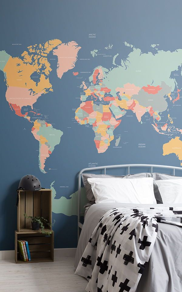 Achieve A Cool Boys Teenage Bedroom With These Blue Wallpaper Designs Adding A Fun Feat Interior Design Bedroom Teenage Wallpaper Bedroom Feature Wall Bedroom