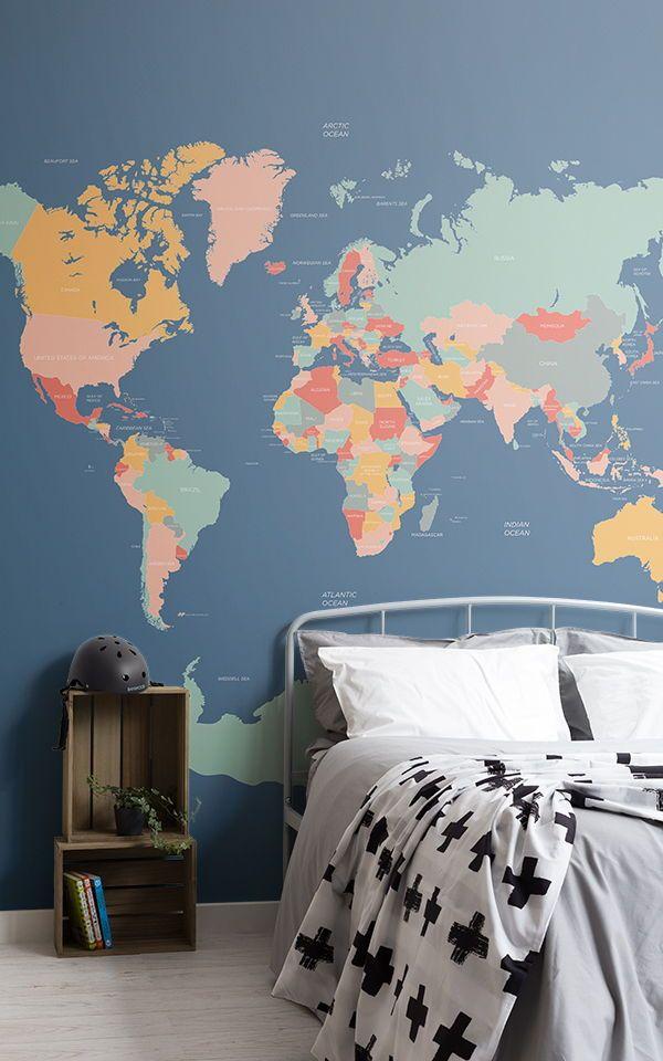 Navigator World Map Wallpaper Mural Muralswallpaper Interior