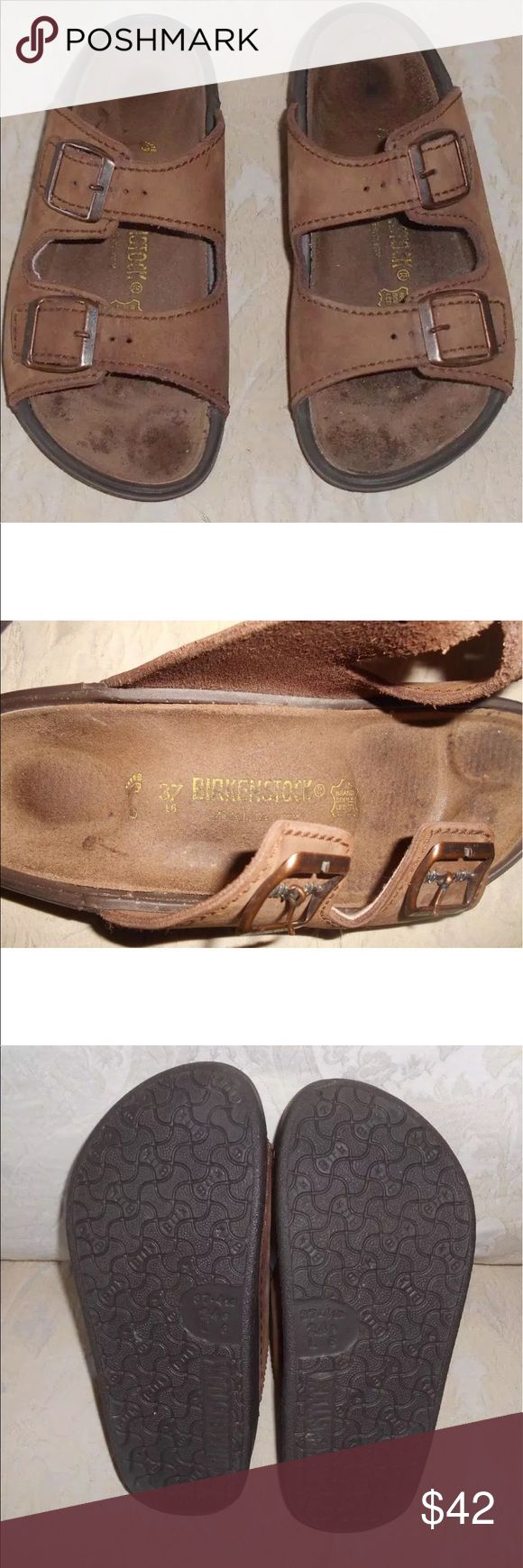 Birkenstock two strap sandals Pre-owned brown suede leather sandals size 37, brown one piece rubber bottoms, leather insoles , adjustable 2 buckle straps , made in Germany Birkenstock Shoes Sandals