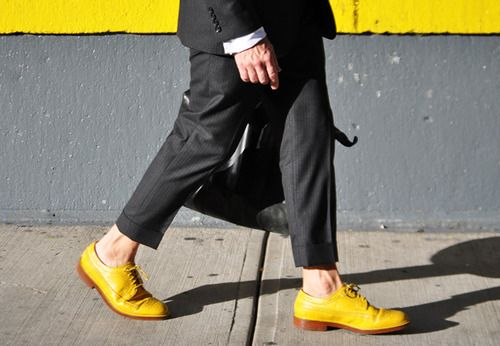 Yellow Duckie Brown shoes on Nick Wooster