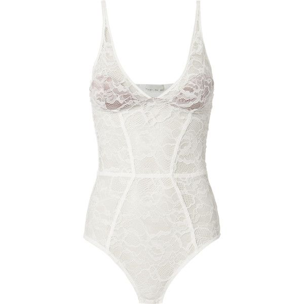 Chat White Lace Plunge Bodysuit ($235) ❤ liked on Polyvore featuring intimates, shapewear and white