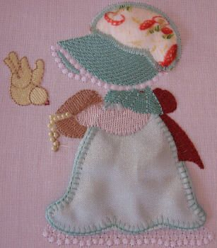 BES387_SINGLE: Country Sunbonnet4 Country Sunbonnet done in pretty satin and matching 'granny print'.  Bring her to 'life' using our 'stump work' method.  She is so pretty and perfect for all those special projects.  Country Sunbonnet is really fun to make ;) http://tinyurl.com/z6u6c67