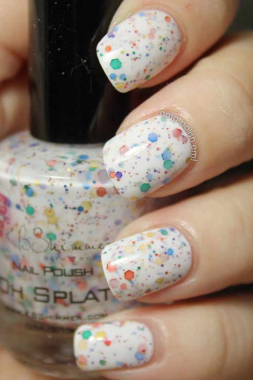 KB Shimmer's Oh Splat! over OPI Alpine Snow