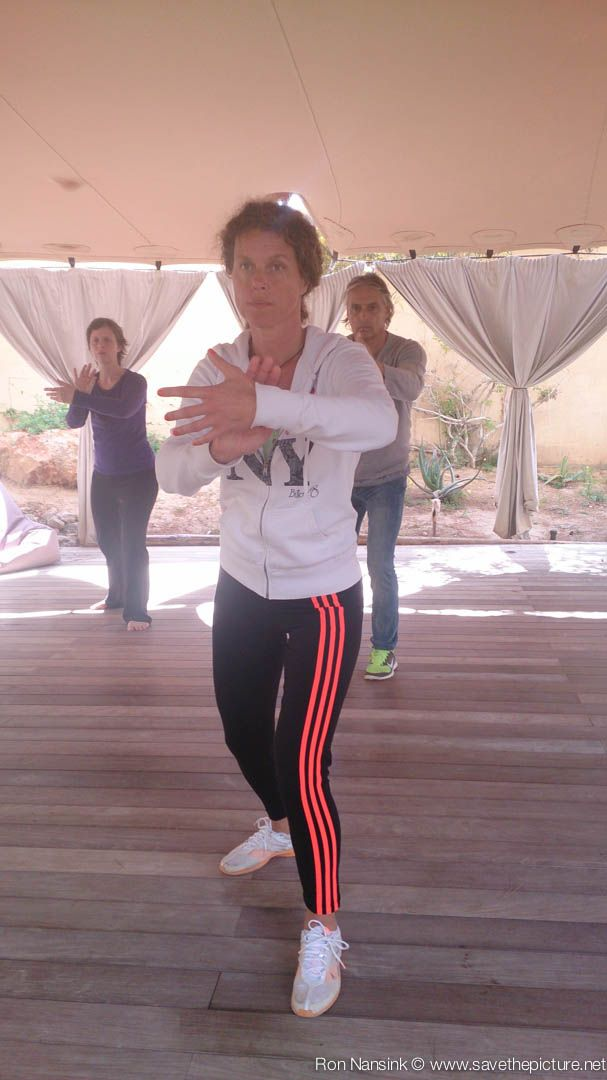 Training the CPL 99 form Tai Chi during the TheFeel Natural Tuning retreats at Ibiza. Location the outside dojo at Casa Gazebo, Cap Martinet.