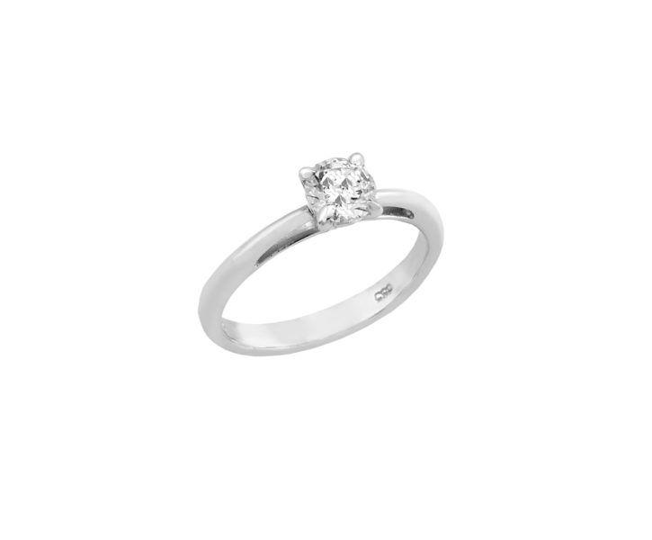 Μονόπετρο  δαχτυλίδι Al'oro  Κ18 λευκόχρυσο διαμάντι ZL282