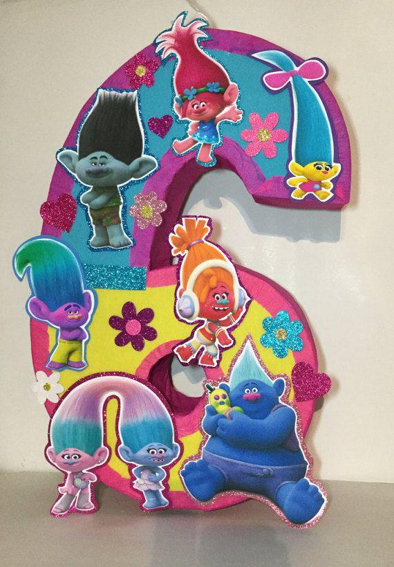 Trolls birthday. Trolls pinata. Trolls number by aldimyshop