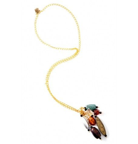 A cluster of colorful pieces becomes the pendant on this delicate gold chain.