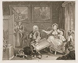 Moll is now the mistress of a wealthy Jewish merchant, as is confirmed by the Old Testament paintings in the background which have been considered to be prophetic of how the merchant will treat Moll in between this plate and the third plate. She has numerous affectations of dress and accompaniment, as she keeps a West Indian serving boy and a monkey. A Harlot's Progress (also known as The Harlot's Progress), 1731, now lost) and engravings (1732) by the English artist William Hogarth.