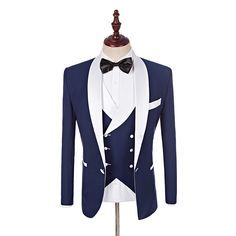Cheap blue man suit, Buy Quality mens suits wedding directly from China suit wedding Suppliers: 2017 Custom Made Groomsmen White Shawl Lapel Groom Tuxedos Blue Men Suits Wedding Best Man Blazer (Jacket+Pants+Vest+Bow Tie )