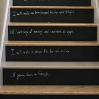 chalkboard paint on stairs